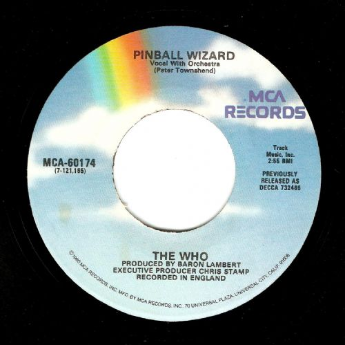 THE WHO Pinball Wizard Vinyl Record 7 Inch US MCA 1980